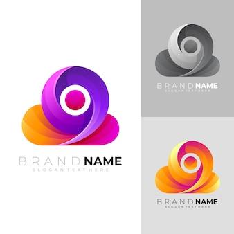 Semplice modello di logo nuvola nuvola e icona colorata