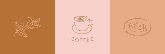 Semplice set di emblemi del caffè