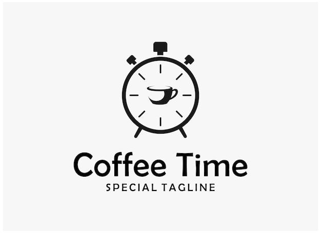 Design semplice del logo dell'ora del caffè