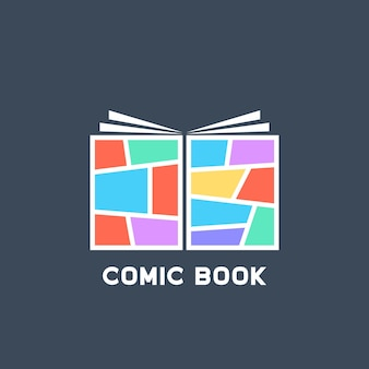 Logo del libro di fumetti lineare colorato semplice. concetto di tag messaggio, divertente, super umano, pubblicità, tpb, spazio vuoto, storia di supereroi. design grafico moderno del logotipo di tendenza in stile piatto su sfondo blu