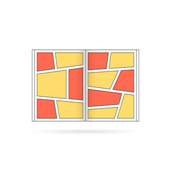 Logo semplice del libro di fumetti con ombra. concetto di messaggio colorato, divertente, super umano, pubblicità, tpb, spazio vuoto, storia di supereroi. design grafico moderno del logotipo di tendenza in stile piatto su sfondo bianco