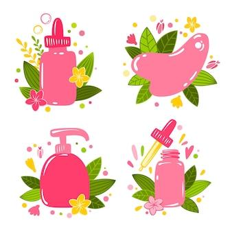Design piatto cosmetico semplice. cura della pelle di bellezza, trattamento viso cosmetologico. bottiglia di essenza, massaggio guasha, bottiglia di crema. tipografia moderna. design piatto. salone di bellezza.