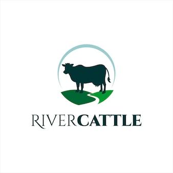 Semplice mucca logo animale vettore silhouette fiume bestiame