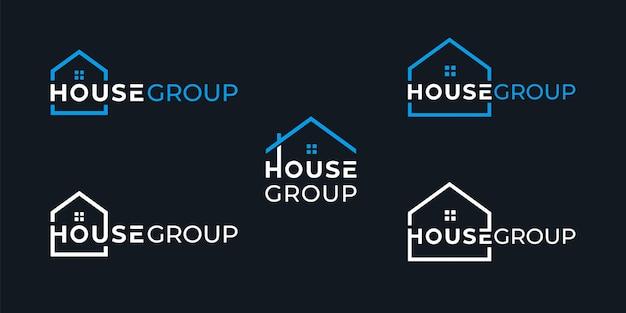 Design del logo del gruppo casa creativa semplice