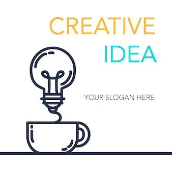 Banner di idea di successo creativo semplice. simbolo di innovazione. lampadina e tazza. elemento di design per avvio di attività, tecnologia, scienza. concetto di invenzione, studio, immaginazione e creatività. vettore