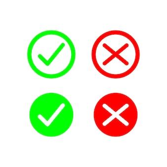 Semplice croce e segno di spunta icona set design colore rosso e verde segno vettoriale illustrazione