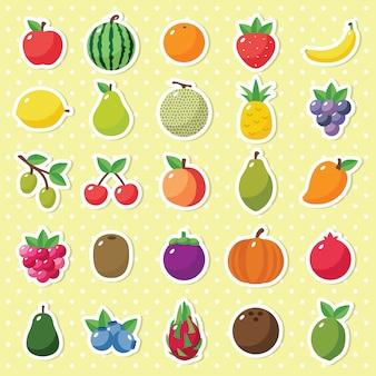 Raccolta di icone semplice carino frutta