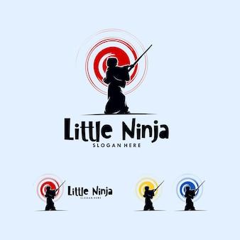 Un design del logo little ninja semplice ma carino