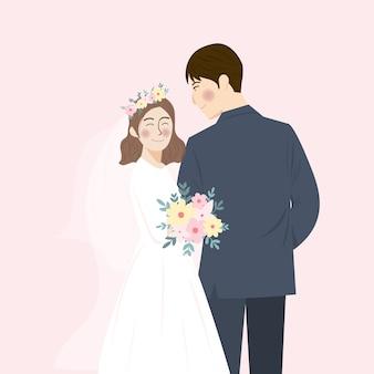Illustrazione sveglia semplice del ritratto delle coppie di nozze si abbracciano e si abbracciano, salva l'invito a nozze data con sfondo rosa