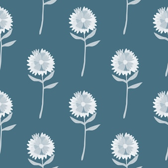 Modello senza cuciture semplice dente di leone. ornamento floreale disegnato a mano in tono bianco su sfondo pastello blu navy.