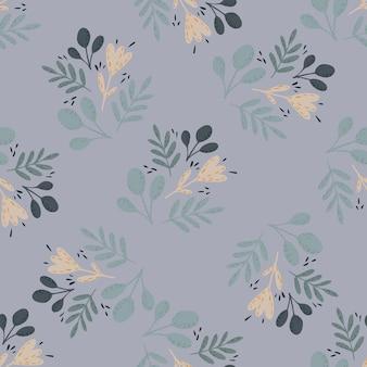 Modello senza cuciture decorativo semplice con ornamento floreale di scarabocchio. sagome di foglie e fiori nei colori blu.