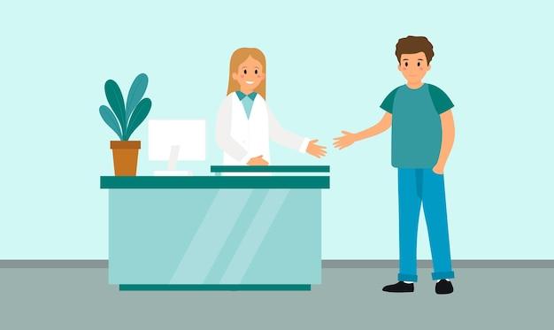 Design semplice in stile cartone animato piatto dell'interno della reception dell'ospedale e due personaggi.