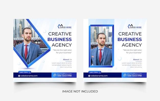Semplice set di modelli di post sui social media e banner web dell'agenzia di marketing digitale