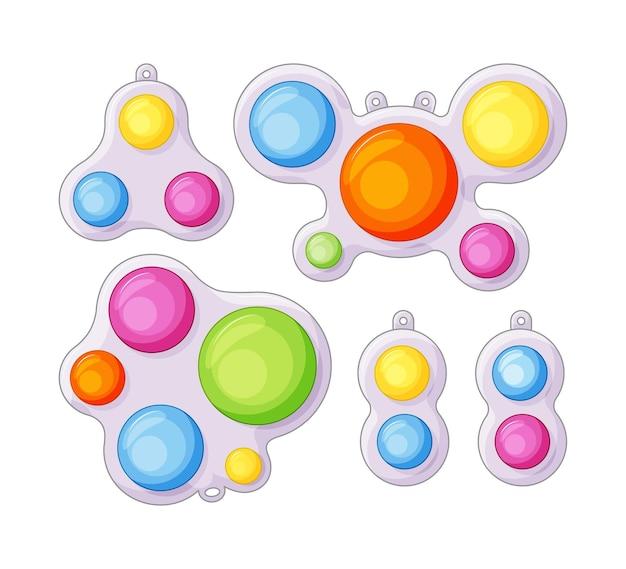 Semplici giocattoli antistress a fossetta con set sensoriale di fidget in stile cartone animato. bolle di silicone colorate