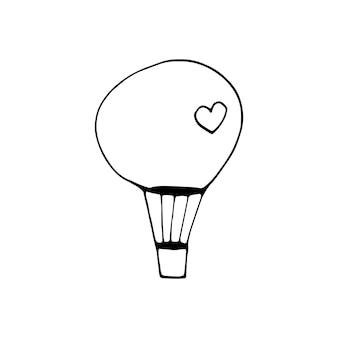 Cuore di mongolfiera semplice doodle vettoriale per biglietti di san valentino, poster, confezioni e design. cuore disegnato a mano, isolato su sfondo bianco. forma geometrica, simbolo dell'illustrazione di san valentino.
