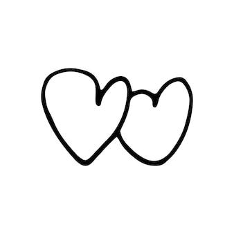 Semplice cuore vettoriale scarabocchio per biglietti di san valentino, poster, confezioni e design. cuore disegnato a mano, isolato su sfondo bianco. forma geometrica, simbolo dell'illustrazione di san valentino.