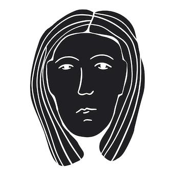 Semplice disegno del viso astratto di una donna