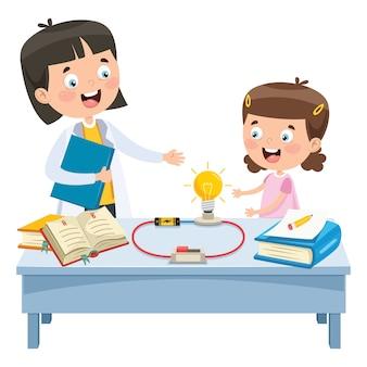 Esperimento di circuiti elettrici semplici per l'educazione dei bambini