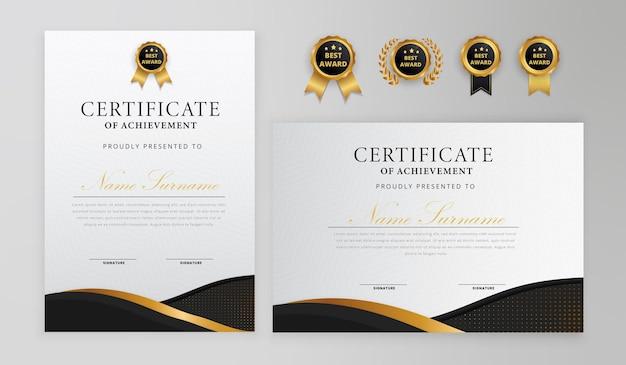 Certificato nero e oro semplice ed elegante con set di badge