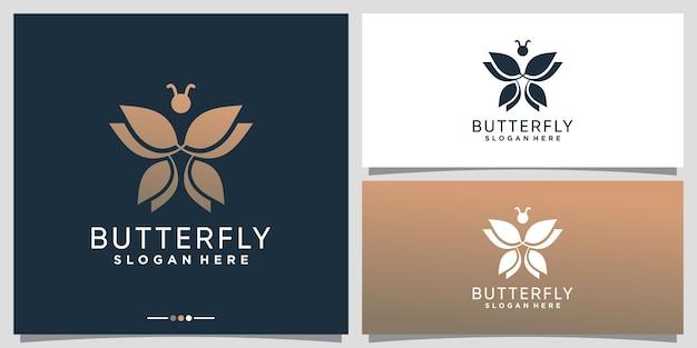 Modello di progettazione del logo della farfalla semplice ed elegante con un concetto creativo vettore premium