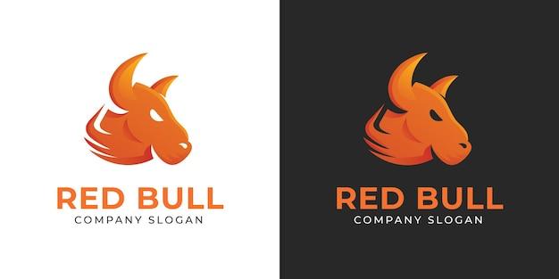 Semplici ed eleganti modelli di logo con testa di toro rosso per aziende e affari