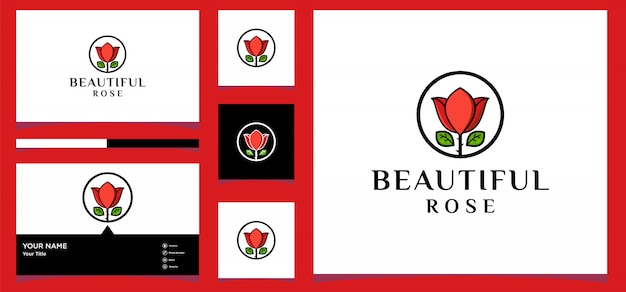 Modello monogramma rosa semplice ed elegante, design elegante logo linea arte, illustrazione vettoriale vettore premium