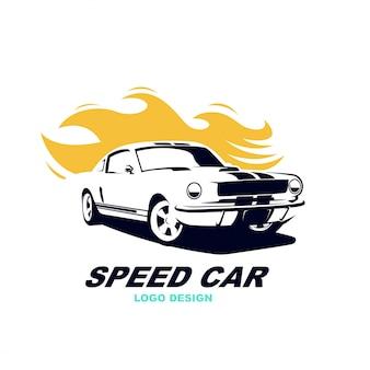 Abtract semplice elegante di vettore di logo dell'automobile di velocità