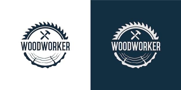 Insieme del logo del falegname semplice ed elegante