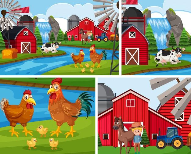 Set di sfondo semplice fattoria