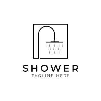 Logo semplice dell'impianto idraulico della doccia del rubinetto icona o logo doccia in stile linea moderna