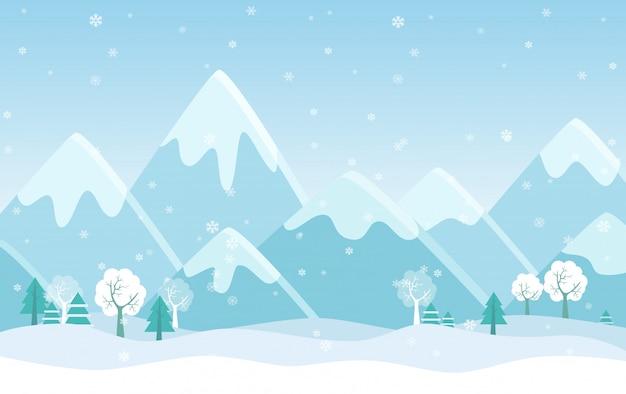 Semplice illustrazione piatta del paesaggio invernale con alberi, pini e colline.