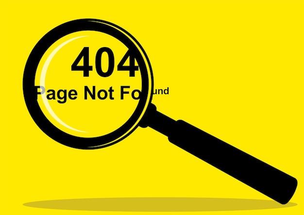 Semplice illustrazione vettoriale piatta della pagina 404 non trovata visualizzata con una lente di ingrandimento
