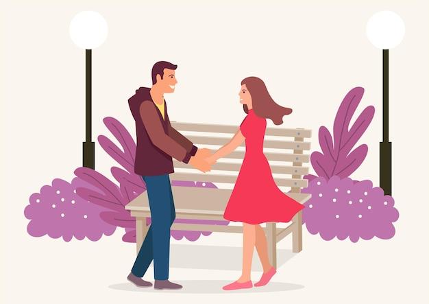 Illustrazione vettoriale piatto semplice delle coppie che si tengono per mano nel parco