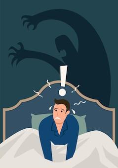 Semplice illustrazione vettoriale piatto di un uomo che si sveglia nel cuore della notte, stressato e spaventato dall'incubo. ansia, attacco di panico, concetto di disturbo del sonno
