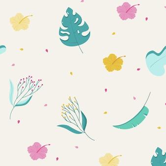 Semplice motivo floreale con foglie fiori hawaiani e monstera
