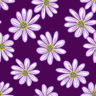 Semplice motivo floreale senza soluzione di continuità con forme di fiori margherita sagomate. sfondo viola. contesto naturale. illustrazione di riserva. disegno vettoriale per tessuti, tessuti, confezioni regalo, sfondi.