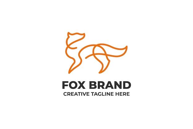 Logo semplice di una linea di sagoma di volpe