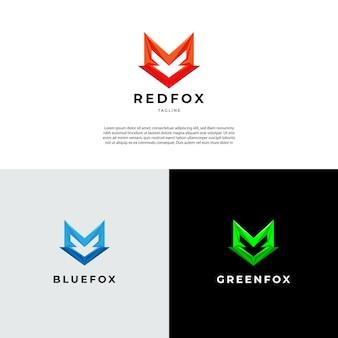 Semplice geometrica forma di volpe logo segno simbolo icona
