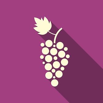 Icona semplice dell'uva con ombra lunga. concetto di viticoltura, negozio di liquori, enoteca, bevande, egetarian. isolato su sfondo viola. illustrazione vettoriale di design moderno logotipo tendenza stile piatto