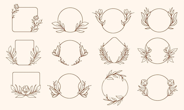 Set di design cornice floreale disegnato a mano semplice