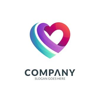 Modello di logo semplice cuore o amore