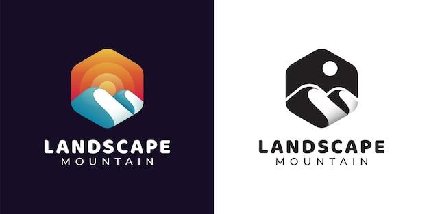 Logo esagonale semplice su avventura in montagna e sole, design del logo delle colline paesaggistiche con versioni in bianco e nero