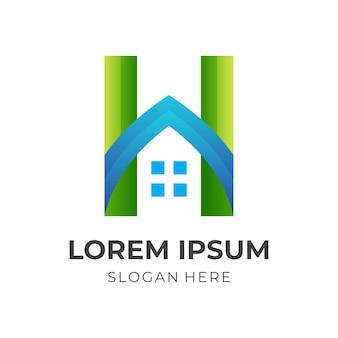 Casa semplice, lettera h e casa, logo combinato con stile colorato 3d
