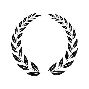 Icona semplice, silhouette di una corona di alloro su sfondo bianco. illustrazione vettoriale