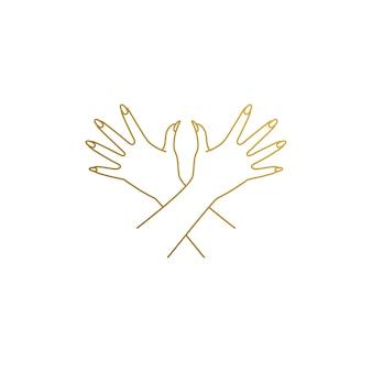 Illustrazione semplice del modello di progettazione di logo di stile lineare di eleganti mani femminili incrociate