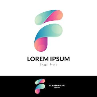 Modello di logo semplice lettera iniziale f.