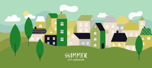 Paesaggio semplice con edifici.