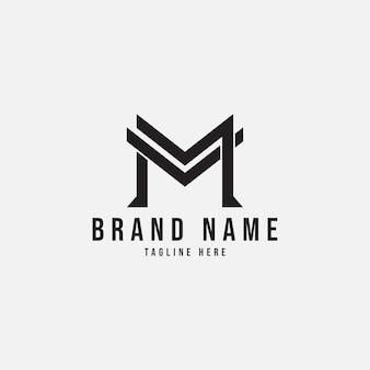 Semplice lettera m mv logo design