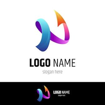 Semplice lettera n freccia logo design