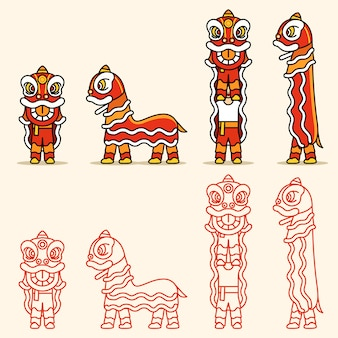 Linea semplice cinese lion dance character set